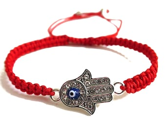 Hamsa Evil Eye Cord Bracelet | Hamsa Hand Evil Eye Bracelet Adjustable | Red Cord Bracelet Lucky Charm Protection