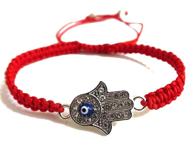 Hamsa Evil Eye Cord Bracelet   Hamsa Hand Evil Eye Bracelet Adjustable   Red Cord Bracelet Lucky Charm Protection