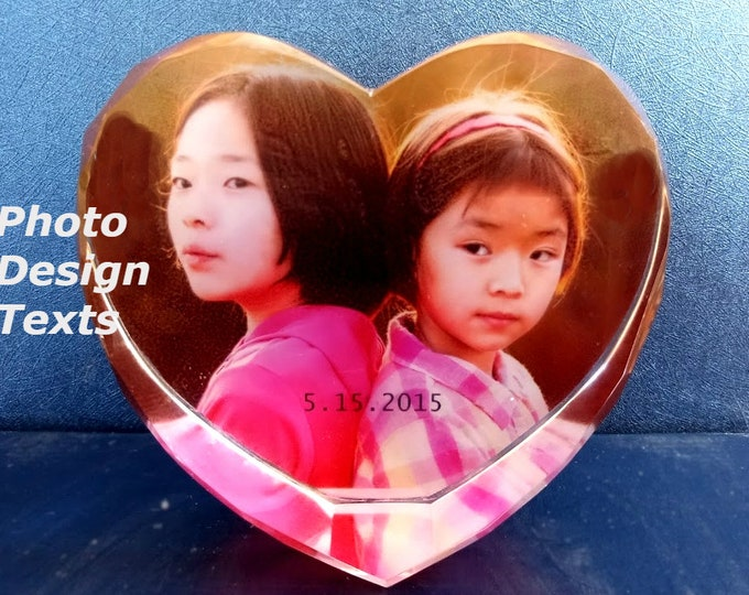 """4"""" x 4"""" Custom Picture Crystal   Heart Shape Free Standing    Personalized Photo Crystal Gift   D20"""