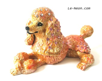 """Bejeweled """" Pink Poodle """" Hinged Metal Enameled Rhinestone Trinket Box"""