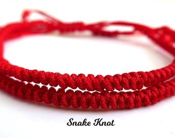 2pcs Couple Set Lucky Red Cord Bracelet | Adjustable Braided Shamballa Bracelet | Good Luck Protection | Snake Knot