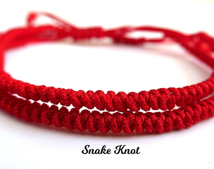 2pcs Couple Set Lucky Red Cord Bracelet   Adjustable Braided Shamballa Bracelet   Good Luck Protection   Snake Knot