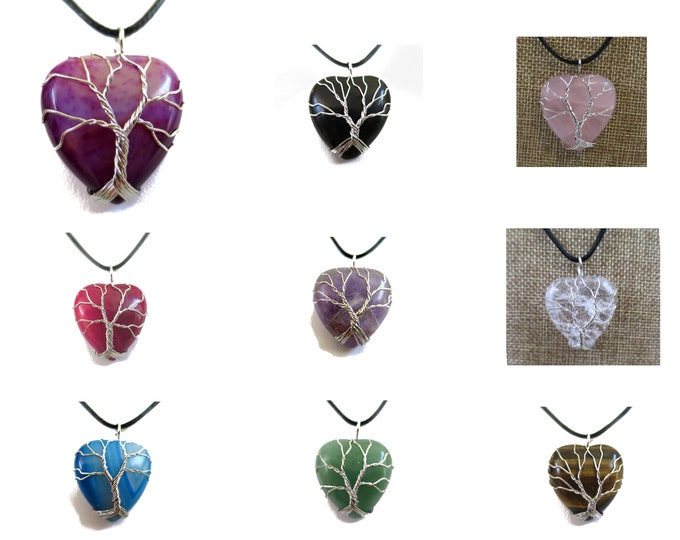1 Natural Crystal Heart Pendant Necklace, wired Gemstone Pendant, Choose Stone