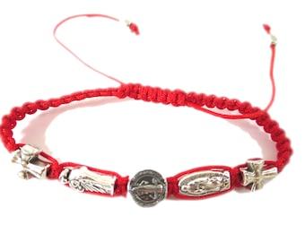 St. Benedict + Guadalupe + St. Jude, Cord Bracelet, Saints combination Medal Bracelet, Catholic Bracelet
