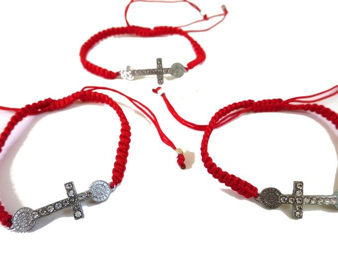 6x St. Benedict Cross Cord Bracelet, Saint Benedict Adjustable Red String Bracelet, party favors, baptism,