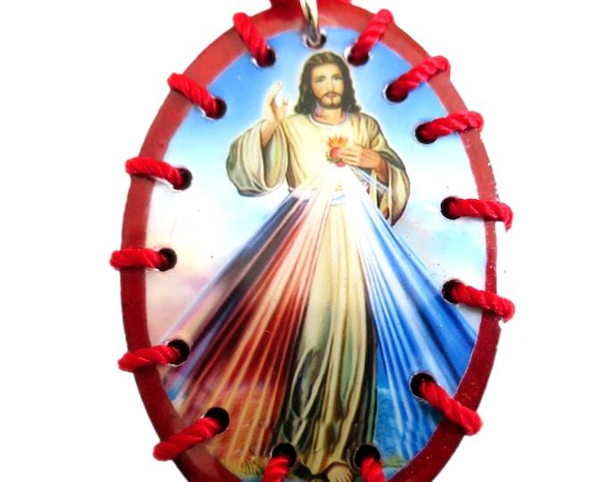 Wooden Scapular Necklace, Divine Mercy Scapular, Religious Gift
