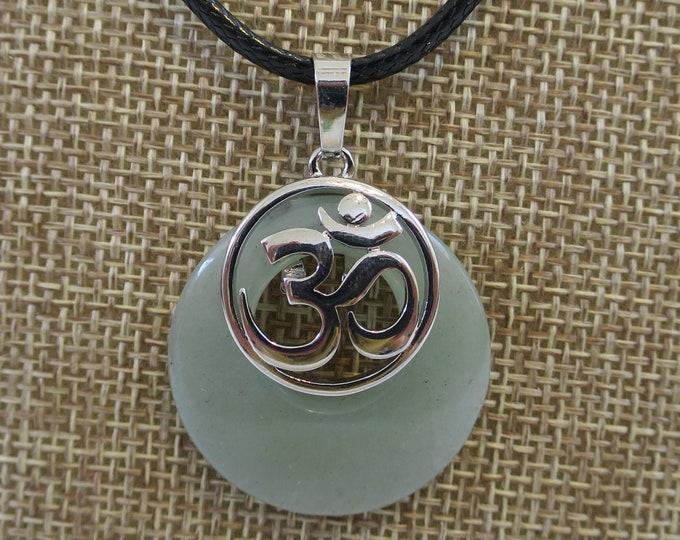 Green Jade Natural Stone Pendant Necklace, Gemstone Circle w/ OM Ohm Aum Symbol