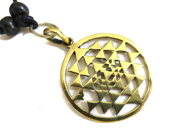 Sri Yantra Symbol, Icon of Sri Yantra, Wealth Symbol Pendant, Gold tone Pendant Adjustable rope | Sacred Geometry, Buddhism Hindu