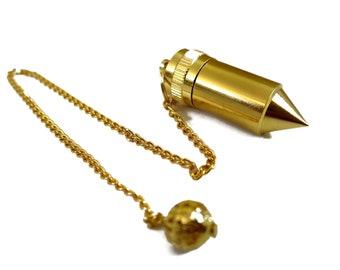 Solid Brass Metal Chamber Pendulum | Gold Bullet Dowsing Pendulum | 7 Inch Long Chain | Spiritual Gift Reiki Healing