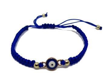 Enameled Evil Eye Cord Bracelet, Simple Evil Eye Bracelet,  Adjustable Hand woven   Red Cord Bracelet Lucky Charm Protection