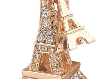 """Purse Charm """" Eiffle Tower """"  Keychain Crystal Rhinestone Sparkling Key Ring Gift"""