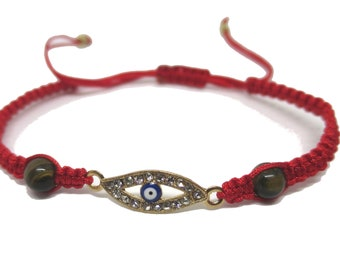 Crystal Jeweled Evil Eye Cord Bracelet, Tiger eye stone, Adjustable Hand woven Red Cord Bracelet,  Lucky Charm Protection