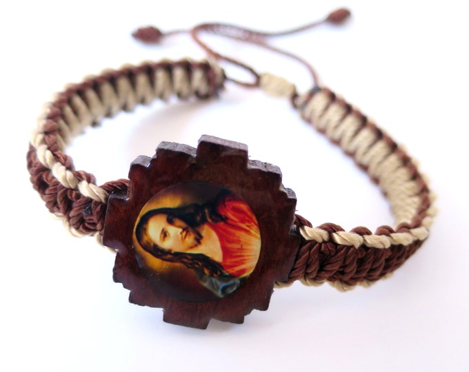 Jesus Christ Sacred Heart Knotted Rope Bracelet Handmade Red Color Wood Charm