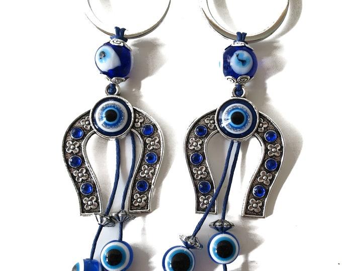 2 (Two) Blue Evil Eye Keychain, Horse Shoe Evil Eye Blue Evil Eye, Lucky Charm for protection