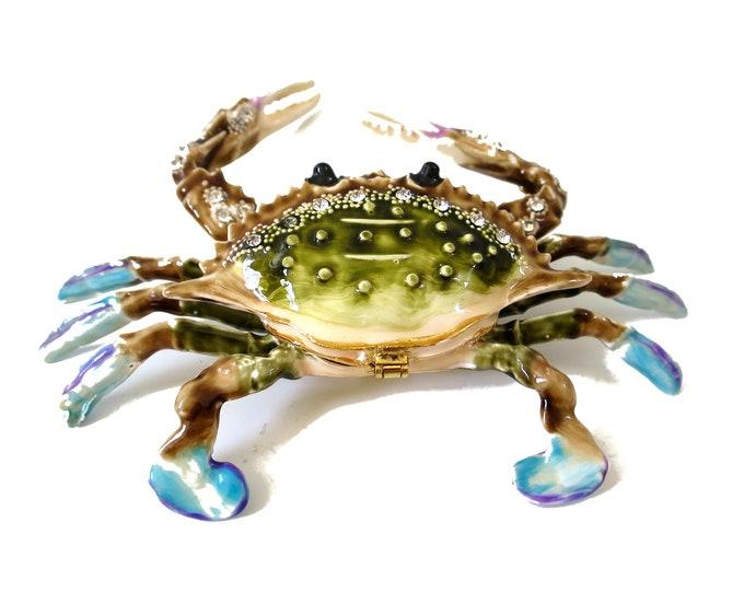 "Bejeweled "" Blue Big Crab "" Hinged Metal Enameled Rhinestone Trinket Box"