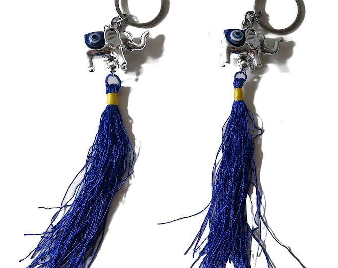 2 (Two) Blue Evil Eye Keychain, Elephant Evil Eye Blue Evil Eye, Lucky Charm protection