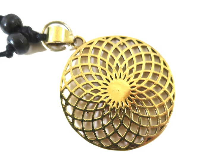 Torus Vortex Symbol Pendant Gold tone | Adjustable rope | Sacred Geometry, Mystical New age Jewelry