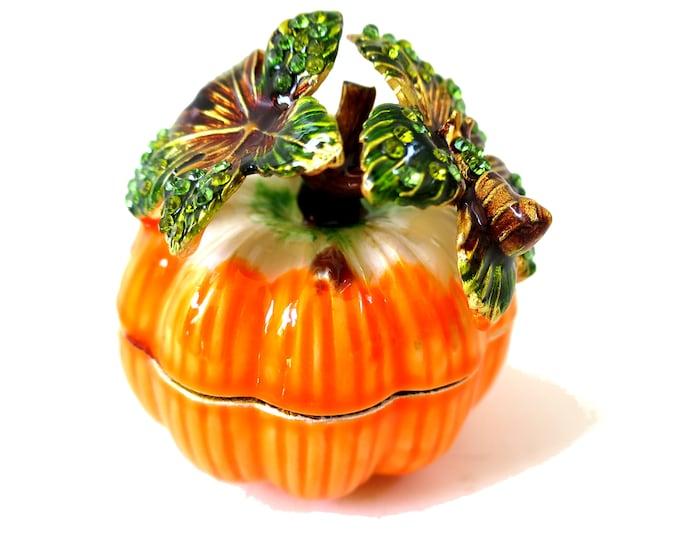 """Bejeweled """" Orange Pumpkin """" Hinged Metal Enameled Rhinestone Trinket Box"""