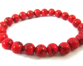 Red Coral Bracelet | Red Coral Gemstone Beads, Elastic Stretchy Bracelet | for Women Beaded Bracelet,  6mm-8mm
