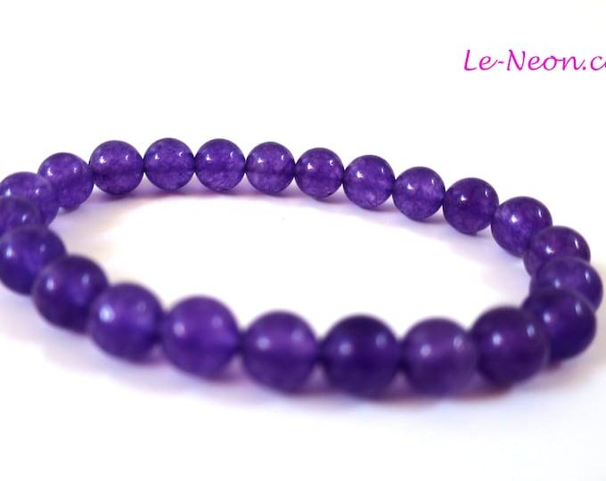 Amethyst Bracelet | Amethyst Gemstone Beads, Elastic Bracelet | For women Beaded Bracelet, 6mm-8mm