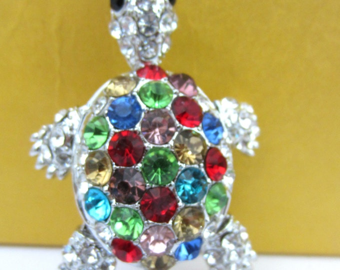 """Purse Charm """" Turtle with movable Head, legs and tail """"  Keychain Crystal Rhinestone Sparkling Key Ring Gift"""
