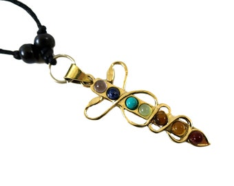 Medicine Symbol & 7 Chakra Gemstone Pendant | Adjustable rope | Caduceus Egyptian Medicine Pendant
