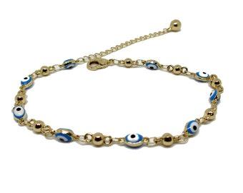 14K Gold filled Anklet Evil Eye Anklet, blue evil eye anklet, Chained Anklet w/ extension