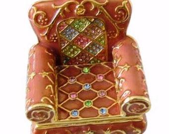 "Bejeweled "" Accent Arm Chair "" Hinged Metal Enameled Rhinestone Trinket Box"