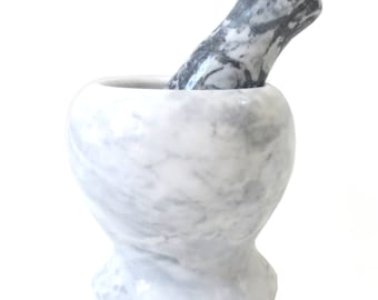 """4"""" White Marble Mortar and Pestle, Pestal and Mortar Grinder Solid Stone, round"""