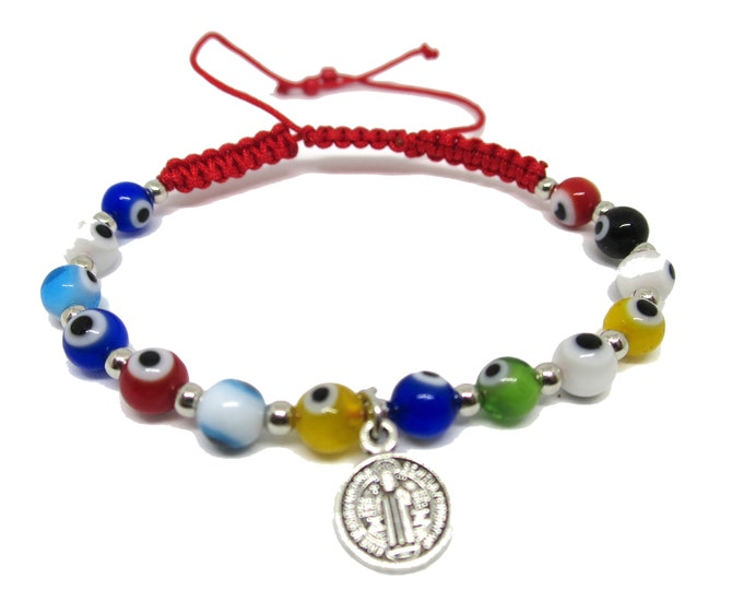 Evil Eye Beads Cord Bracelet St Benedict charm, Beaded Evil Eye, Red Cord String Bracelet, Good Luck Protection for kids or teens