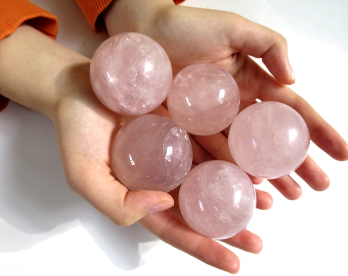 """Rose Quartz Ball Sphere 40mm ( 1.75"""" ) with wood stand, Rose quartz natural Crystal Ball"""