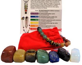 7 Tumbled Stones with a Gemstone Bracelet, Mini Chakra Set, Stone Gift Set, 8pcs