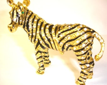 """Bejeweled """" Zebra """" Hinged Metal Enameled Rhinestone Trinket Box"""