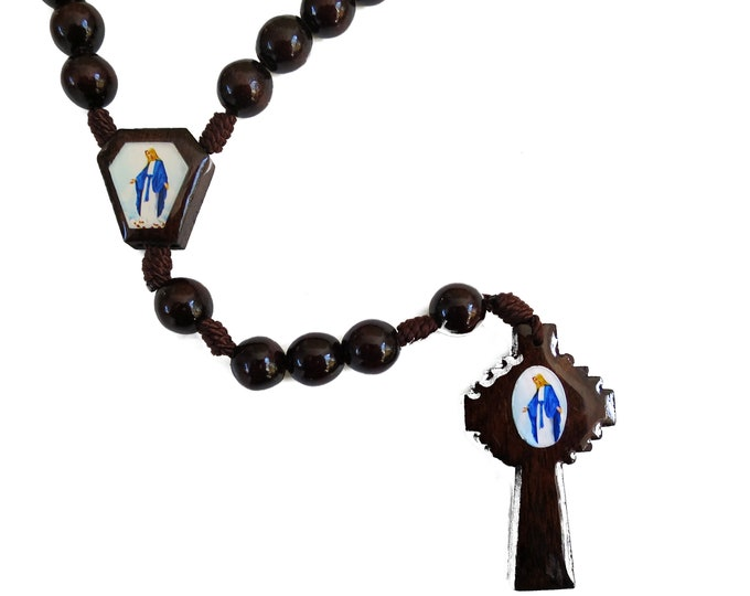 """Miraculous Wooden Rosary, Our Lady of Grace Saint Rosary, Prayer Beads, RCIA gifts, Men's Rosary, 16.5"""""""