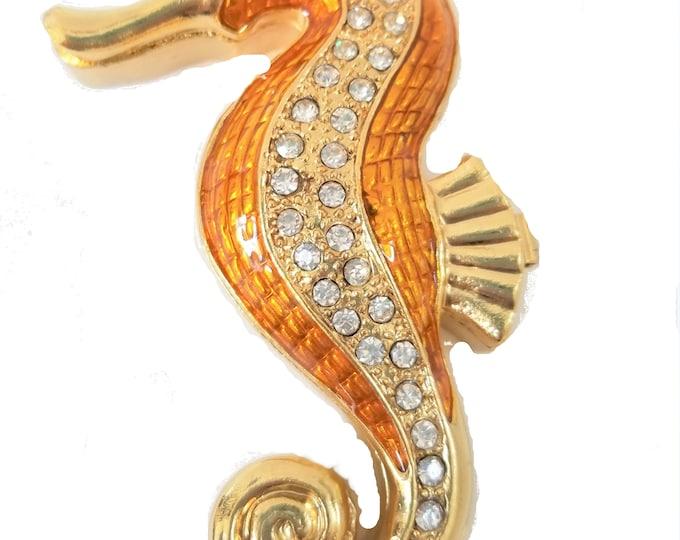 "Bejeweled "" Sea Horse "" Hinged Metal Enameled Rhinestone Trinket Box"