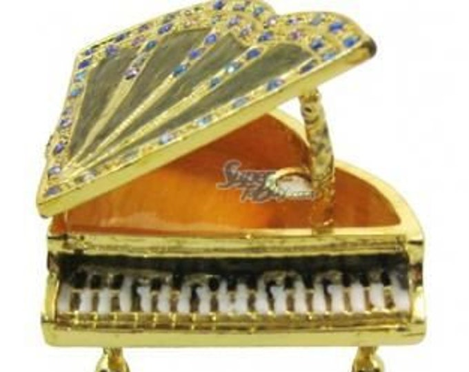 "Bejeweled "" Piano "" Hinged Metal Enameled Rhinestone Trinket Box"