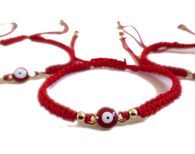 6 x Red Evil Eye simple Bracelets, Adjustable Cord Bracelet, Party Favors gifts, bulk wholesale lot