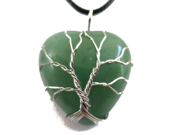 Green Aventurine Necklace Pendant | Wired Gemstone Pendant | Heart Shaped