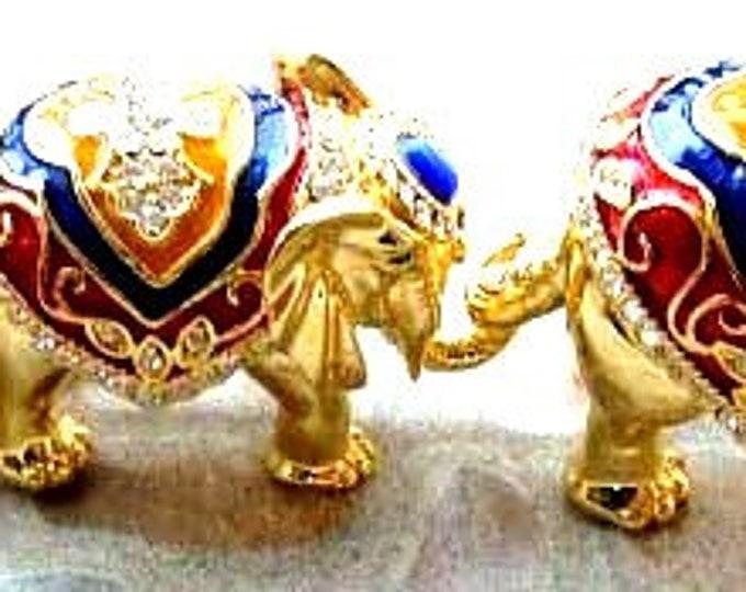 """Bejeweled """" Three Elephant Set, Elephant Family """" Trinket Box"""
