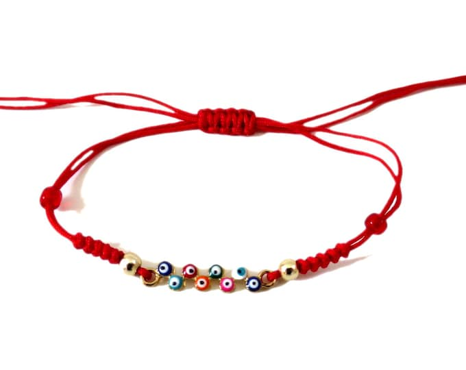 Tiny Evil Eye cluster Cord Bracelet, cluster of Eyes Bracelet Adjustable, Red cord string bracelet Lucky Charm Protection for kid or teen