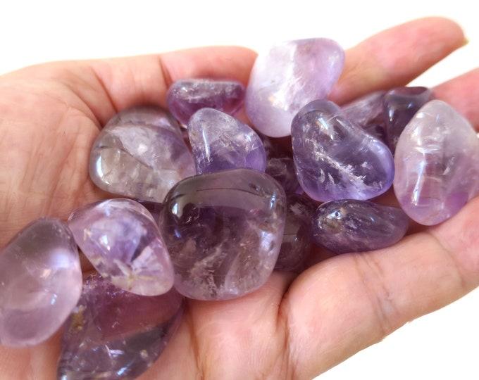 "Medium Amethyst Tumbled Stone: Choose Number of Stones, ""A"" Grade Amethyst Stone, Spiritual Stone"