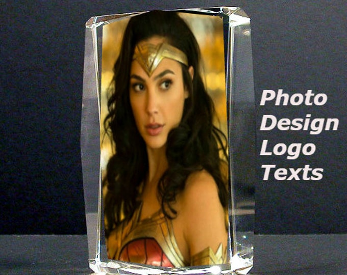 """4.5"""" x 3"""" Custom Picture Crystal   Large Rectangle beveled edge   Personalized Photo Crystal Gift   A2"""