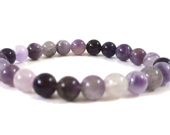 African Amethyst Power Bracelet   Amethyst Gemstone Beads, Elastic stretchy Bracelet   For men or women Beaded Bracelet,  6mm - 8mm