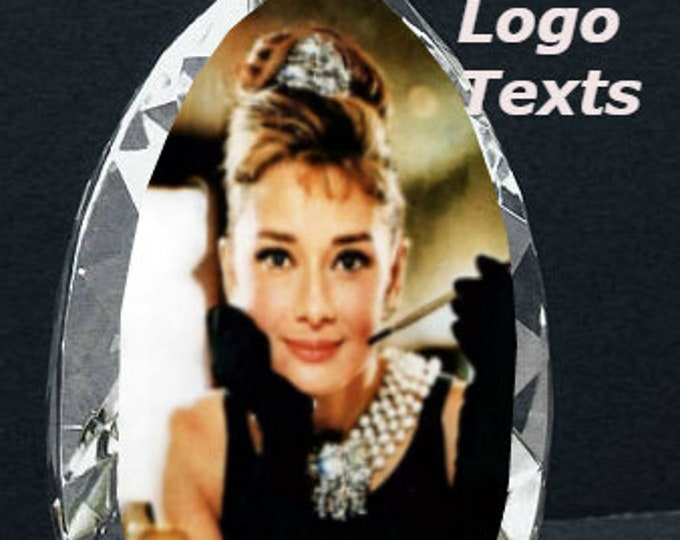 """3"""" x4"""" Custom Picture Crystal   Tear Drop free standing   Personalized Photo Crystal Gift   Photo Frame B8"""