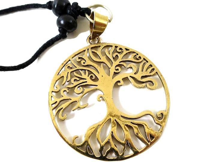 Tree of Life Symbol Pendant Gold tone | Adjustable rope | Sacred Geometry, Mystical Hindu Mandala
