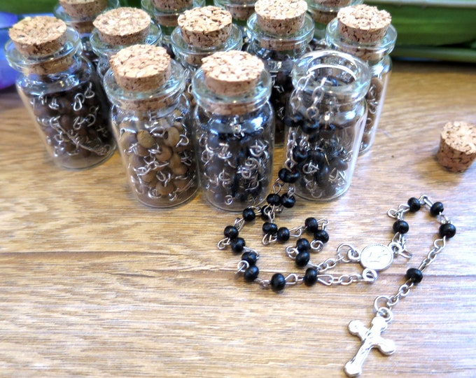 12x Cork Bottle Rosary Favors, Scented Wood Rosary, Miraculous Medal, Baptism Christening Communion Confirmation