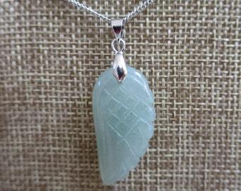 Green Aventurine Angel's Wing Pendant Necklace, Green Aventurine necklace, Aventurine gemstone necklace