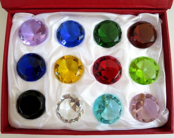 30mm Glass Diamond Jewel Art Glass Paperweight Box Set 12pcs
