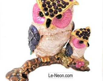 """Bejeweled """"Owl Mom and Baby Pink"""" Hinged Metal Enameled Rhinestone Trinket Box"""