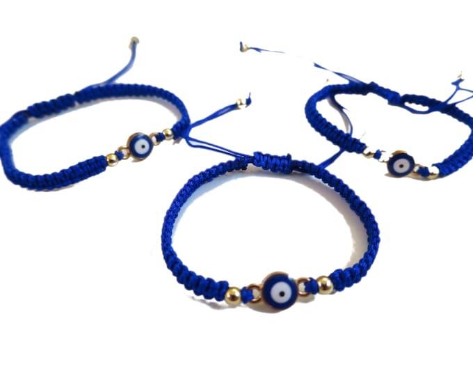 6 x Blue Evil Eye simple Bracelets, Adjustable Cord Bracelet, Party Favors gifts, bulk wholesale lot